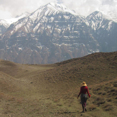 Michelle Page walking in the Himalayas
