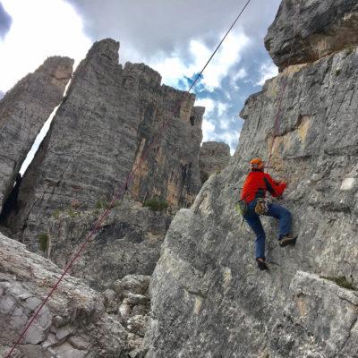 Michael Satzberg climbing Italian Dolomites; courtesy of ETG