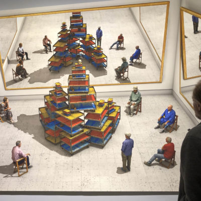 A David Hockney painting enjoyed by an art lover
