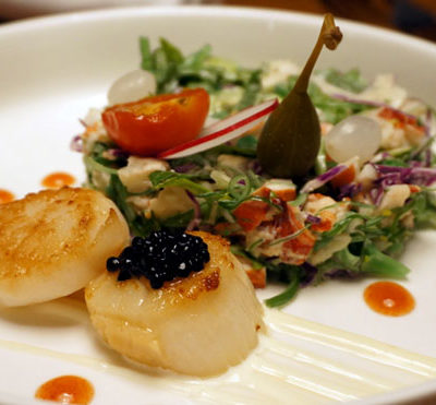 Ingridients, Bonaire, Lobster and Scallop Salad Appetizer