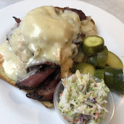 Open Faced Hot Pastrami Reuben at EJ's Luncheonette