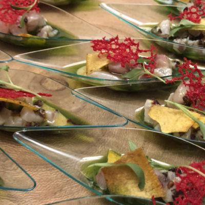 Gorgeous display of Branzini Ceviche from Le Grand; photo by Kathy Leonardo; courtesy of ETG;